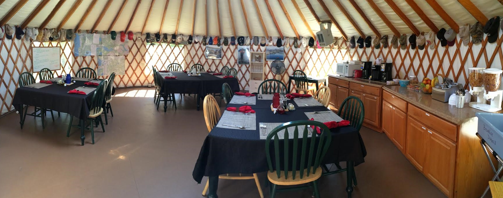 Inside view of Alaska Hooksetters Dining Hall yurt, where guest will gather for meals on their trip.